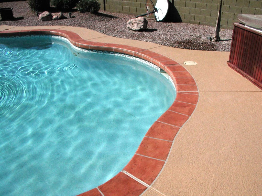Acrylic Lace Pool Deck with Brown/Red Tile Border-6