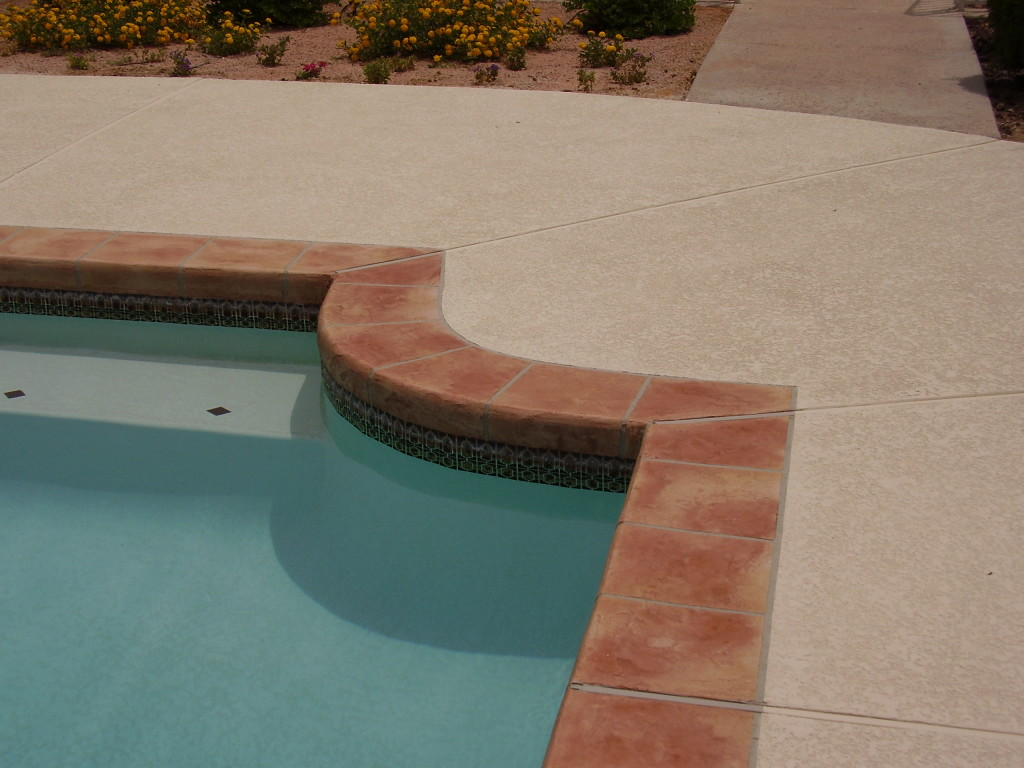 Acrylic Lace Pool Deck with Brown Tile Border